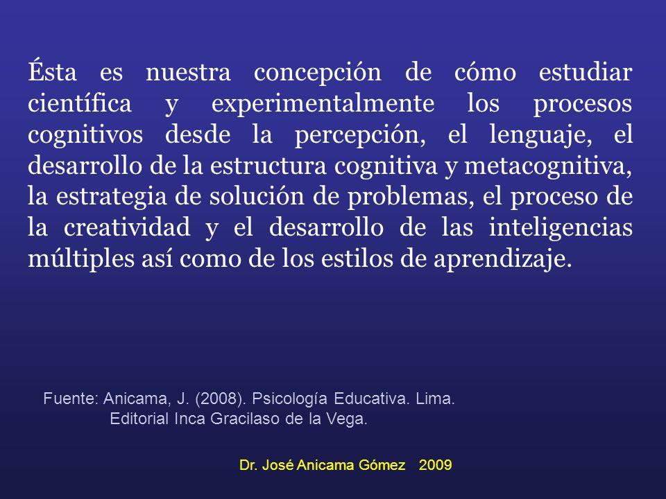 Ésta es nuestra concepción de cómo estudiar científica y experimentalmente los procesos cognitivos desde la percepción, el lenguaje, el desarrollo de