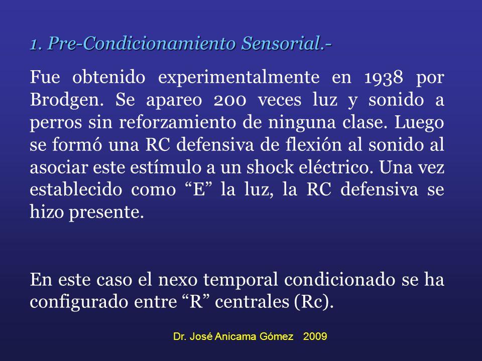1. Pre-Condicionamiento Sensorial.- Fue obtenido experimentalmente en 1938 por Brodgen. Se apareo 200 veces luz y sonido a perros sin reforzamiento de