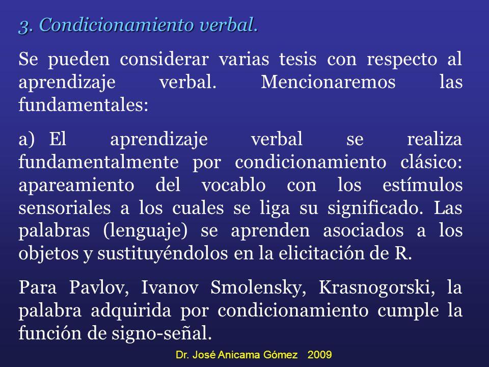 3. Condicionamiento verbal. Se pueden considerar varias tesis con respecto al aprendizaje verbal. Mencionaremos las fundamentales: a) El aprendizaje v