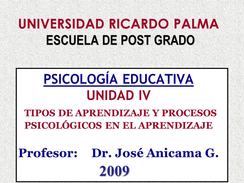 Dr. José Anicama Gómez 20071 ESCUELA DE POST GRADO UNIVERSIDAD RICARDO PALMA ESCUELA DE POST GRADO PSICOLOGÍA EDUCATIVA UNIDAD IV TIPOS DE APRENDIZAJE