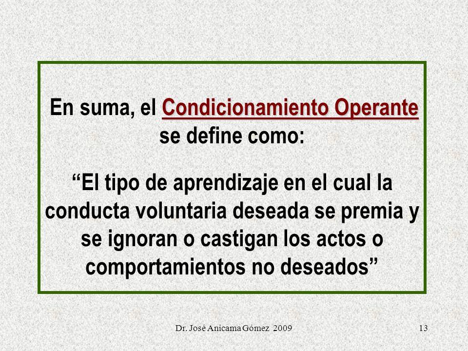 13 Condicionamiento Operante En suma, el Condicionamiento Operante se define como: El tipo de aprendizaje en el cual la conducta voluntaria deseada se