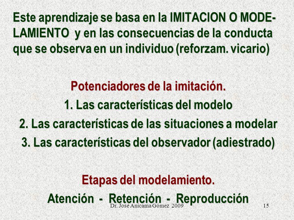 15 Este aprendizaje se basa en la IMITACION O MODE- LAMIENTO y en las consecuencias de la conducta que se observa en un individuo (reforzam. vicario)