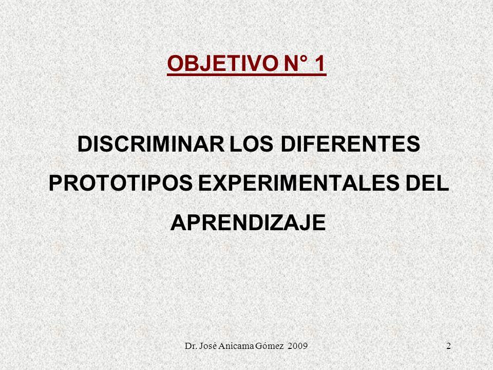 Dr. José Anicama Gómez 20092 OBJETIVO N° 1 DISCRIMINAR LOS DIFERENTES PROTOTIPOS EXPERIMENTALES DEL APRENDIZAJE