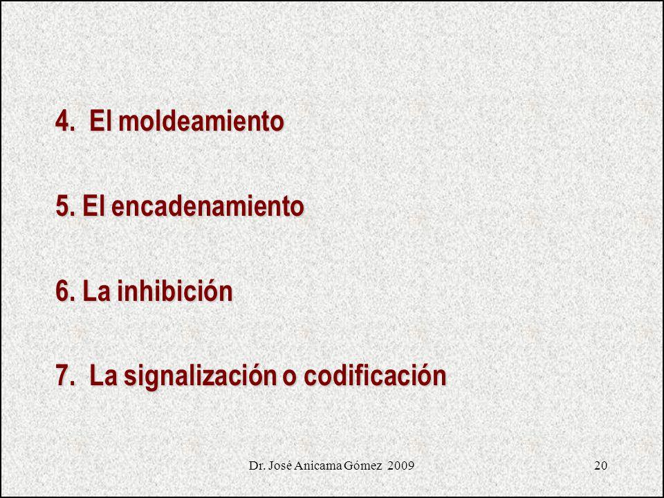 20 4. El moldeamiento 5. El encadenamiento 6. La inhibición 7. La signalización o codificación Dr. José Anicama Gómez 2009