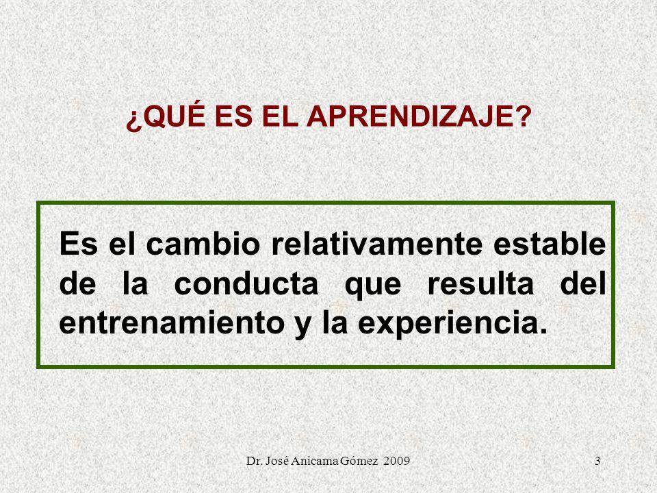 3 ¿QUÉ ES EL APRENDIZAJE? Es el cambio relativamente estable de la conducta que resulta del entrenamiento y la experiencia. Dr. José Anicama Gómez 200
