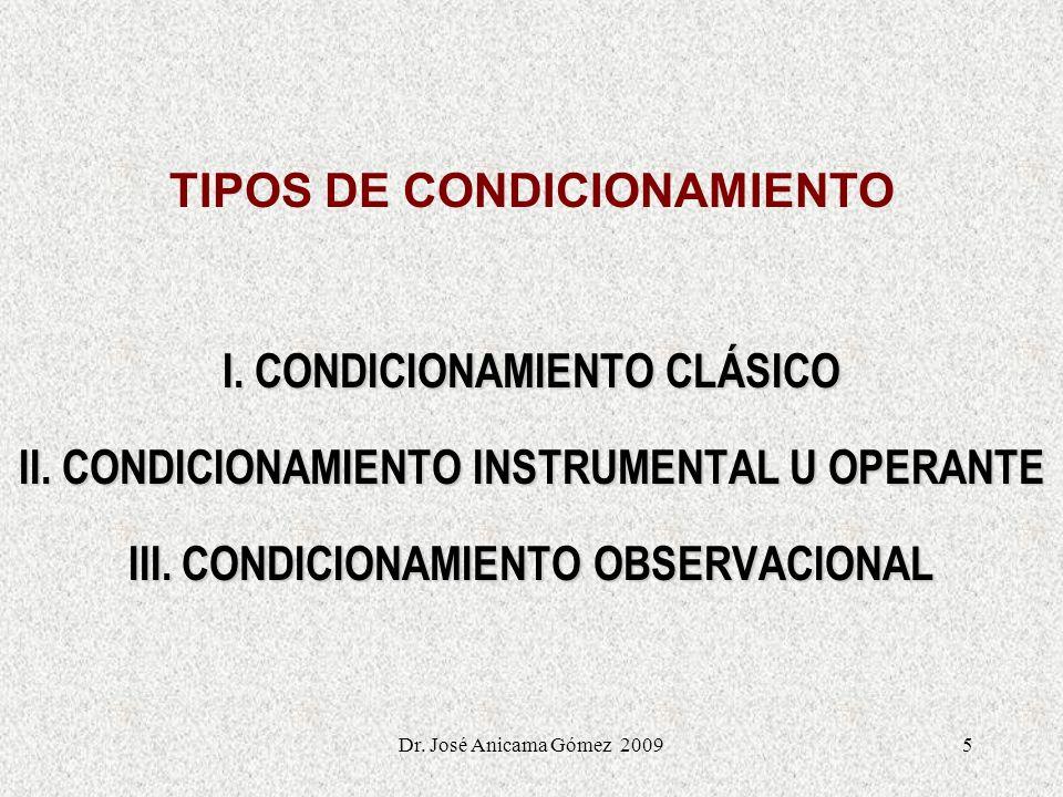 5 TIPOS DE CONDICIONAMIENTO I. CONDICIONAMIENTO CLÁSICO II. CONDICIONAMIENTO INSTRUMENTAL U OPERANTE III. CONDICIONAMIENTO OBSERVACIONAL Dr. José Anic