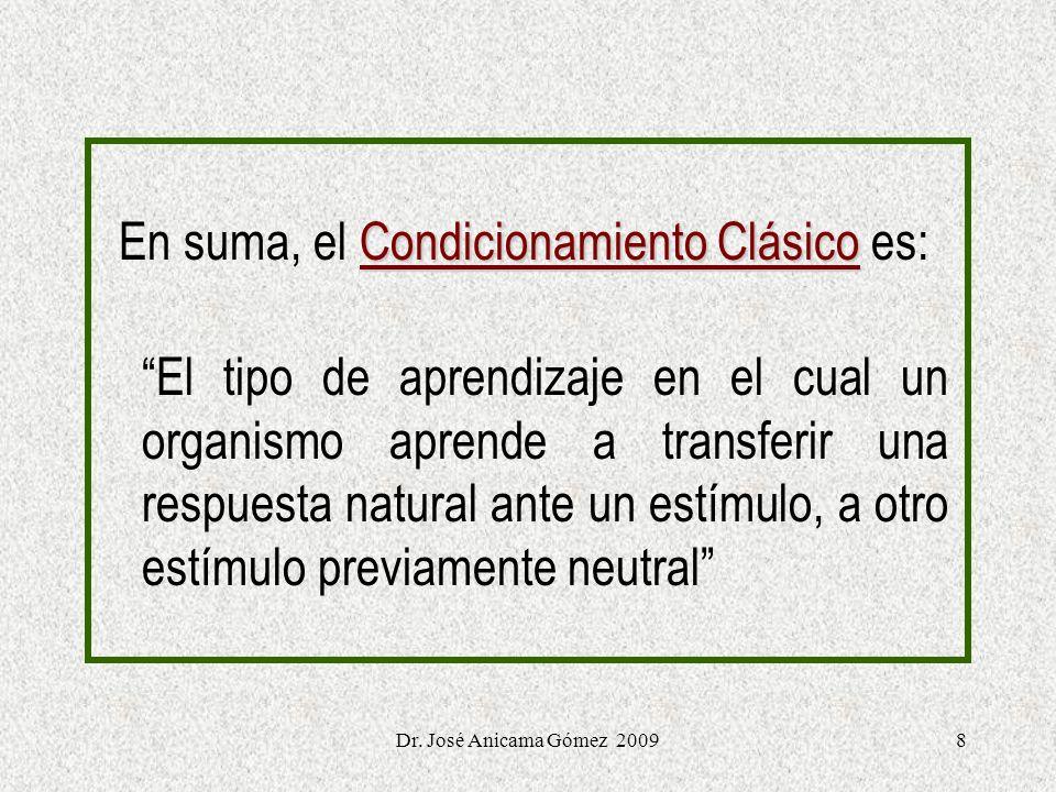 8 Condicionamiento Clásico En suma, el Condicionamiento Clásico es: El tipo de aprendizaje en el cual un organismo aprende a transferir una respuesta