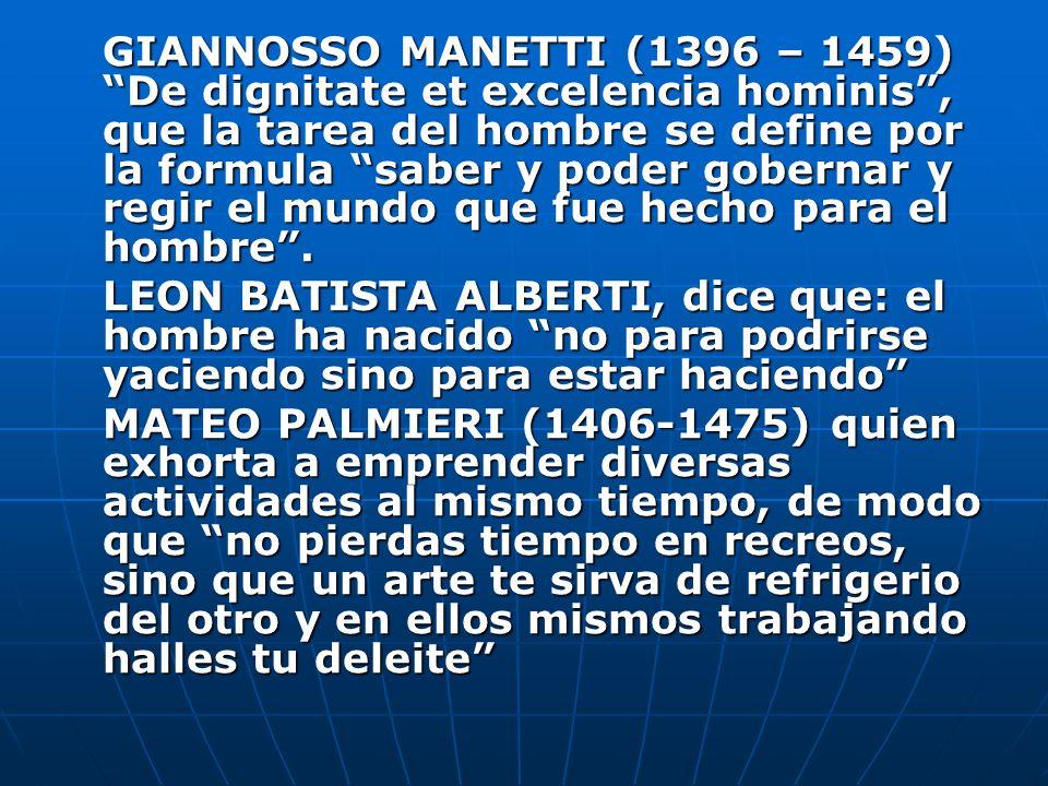 GIANNOSSO MANETTI (1396 – 1459) De dignitate et excelencia hominis, que la tarea del hombre se define por la formula saber y poder gobernar y regir el
