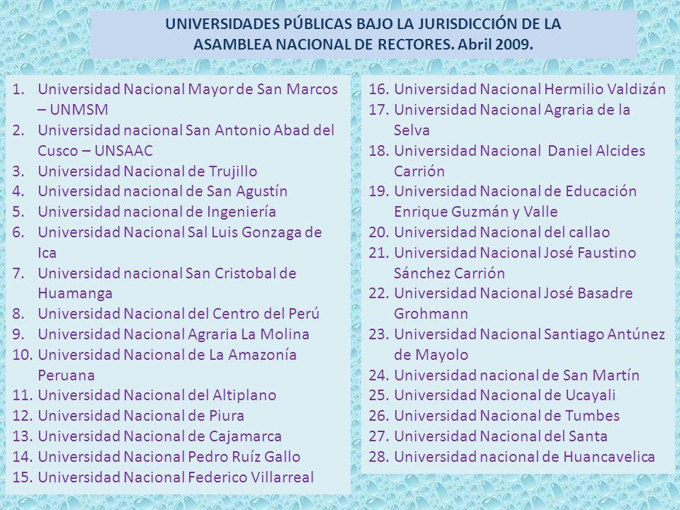 UNIVERSIDADES PÚBLICAS BAJO LA JURISDICCIÓN DE LA ASAMBLEA NACIONAL DE RECTORES. Abril 2009. 1.Universidad Nacional Mayor de San Marcos – UNMSM 2.Univ