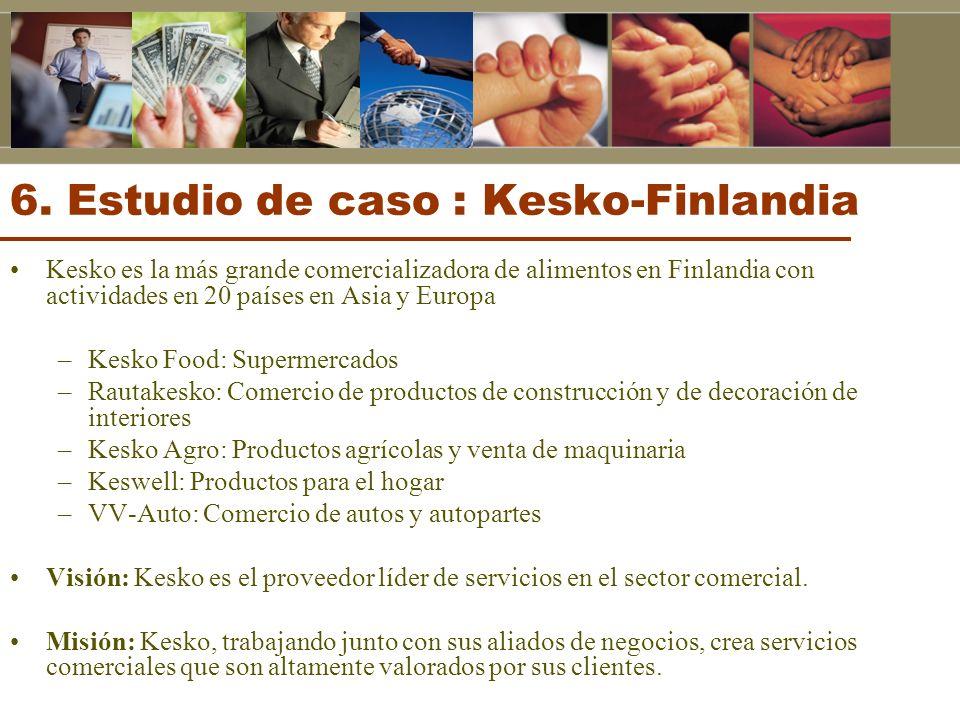 6. Estudio de caso : Kesko-Finlandia Kesko es la más grande comercializadora de alimentos en Finlandia con actividades en 20 países en Asia y Europa –