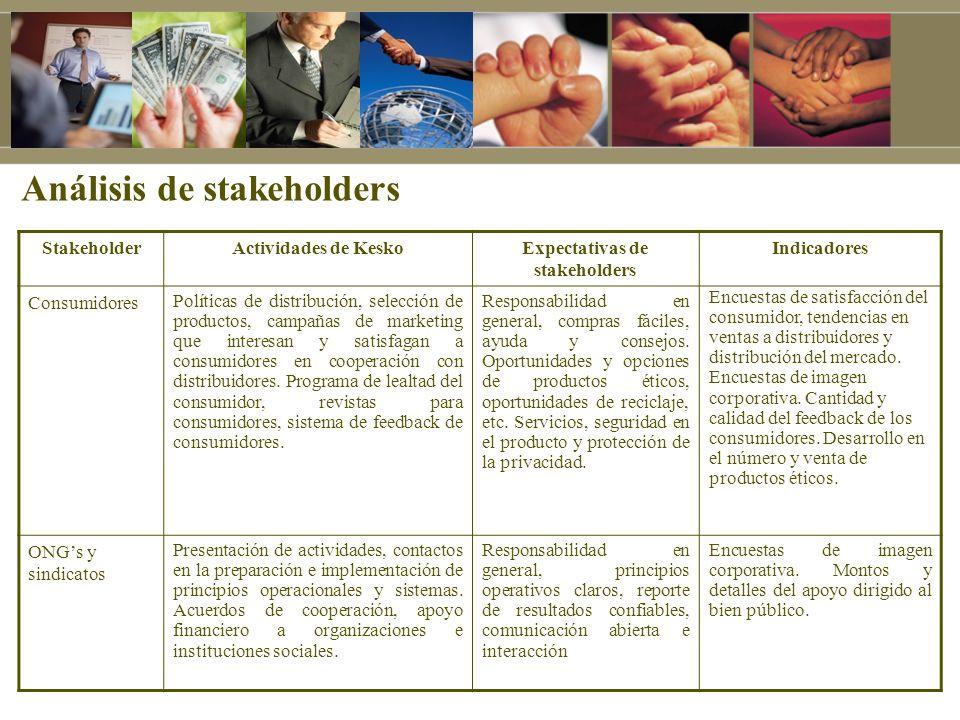 Análisis de stakeholders StakeholderActividades de KeskoExpectativas de stakeholders Indicadores Consumidores Políticas de distribución, selección de