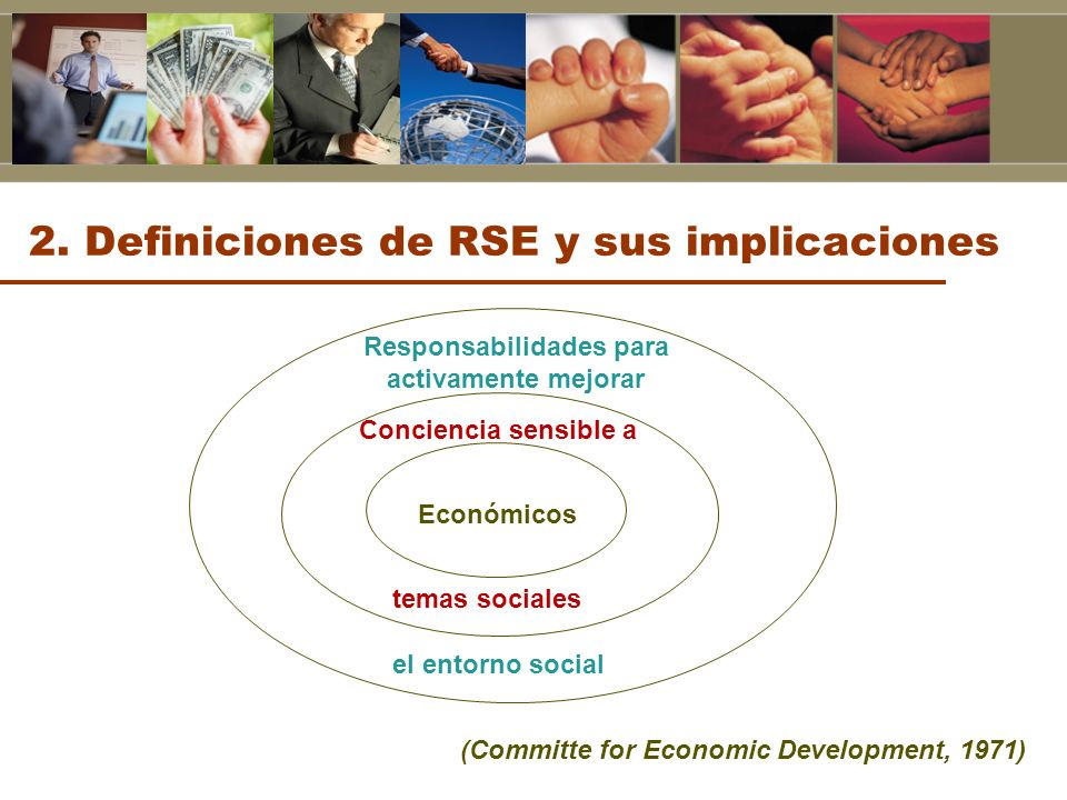 Económicos Conciencia sensible a temas sociales Responsabilidades para activamente mejorar el entorno social (Committe for Economic Development, 1971)