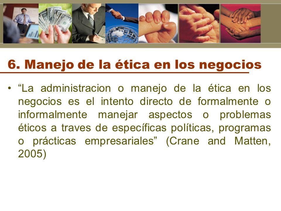 6. Manejo de la ética en los negocios La administracion o manejo de la ética en los negocios es el intento directo de formalmente o informalmente mane
