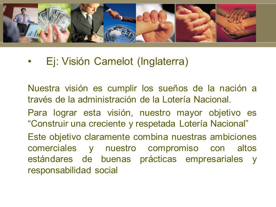 Ej: Visión Camelot (Inglaterra) Nuestra visión es cumplir los sueños de la nación a través de la administración de la Lotería Nacional. Para lograr es