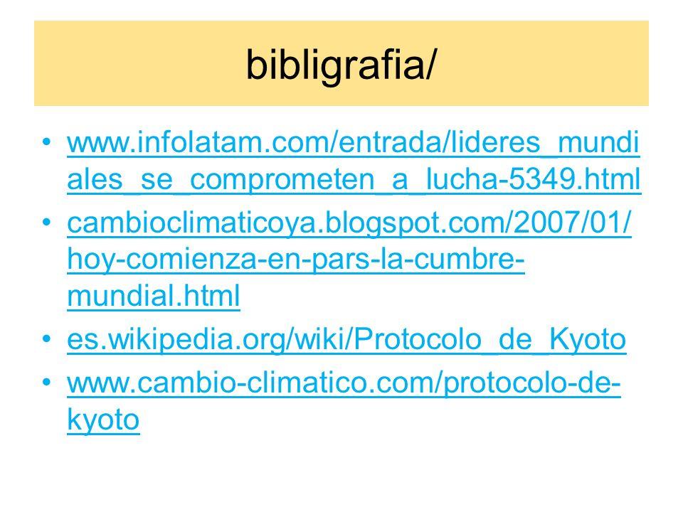 bibligrafia/ www.infolatam.com/entrada/lideres_mundi ales_se_comprometen_a_lucha-5349.html cambioclimaticoya.blogspot.com/2007/01/ hoy-comienza-en-pars-la-cumbre- mundial.html es.wikipedia.org/wiki/Protocolo_de_Kyoto www.cambio-climatico.com/protocolo-de- kyoto
