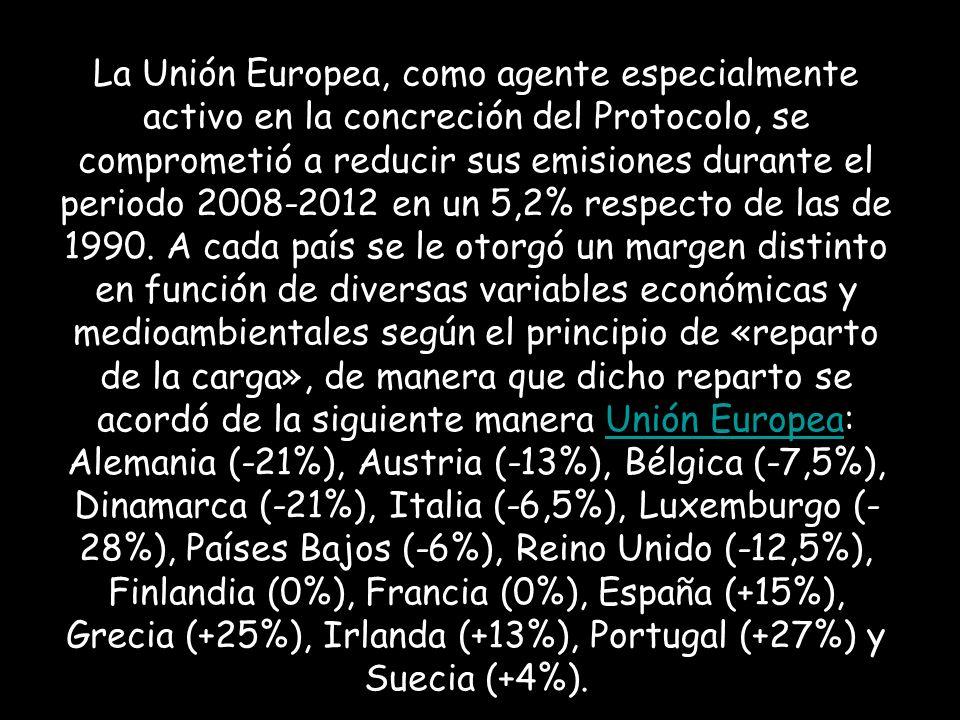 La Unión Europea, como agente especialmente activo en la concreción del Protocolo, se comprometió a reducir sus emisiones durante el periodo 2008-2012 en un 5,2% respecto de las de 1990.