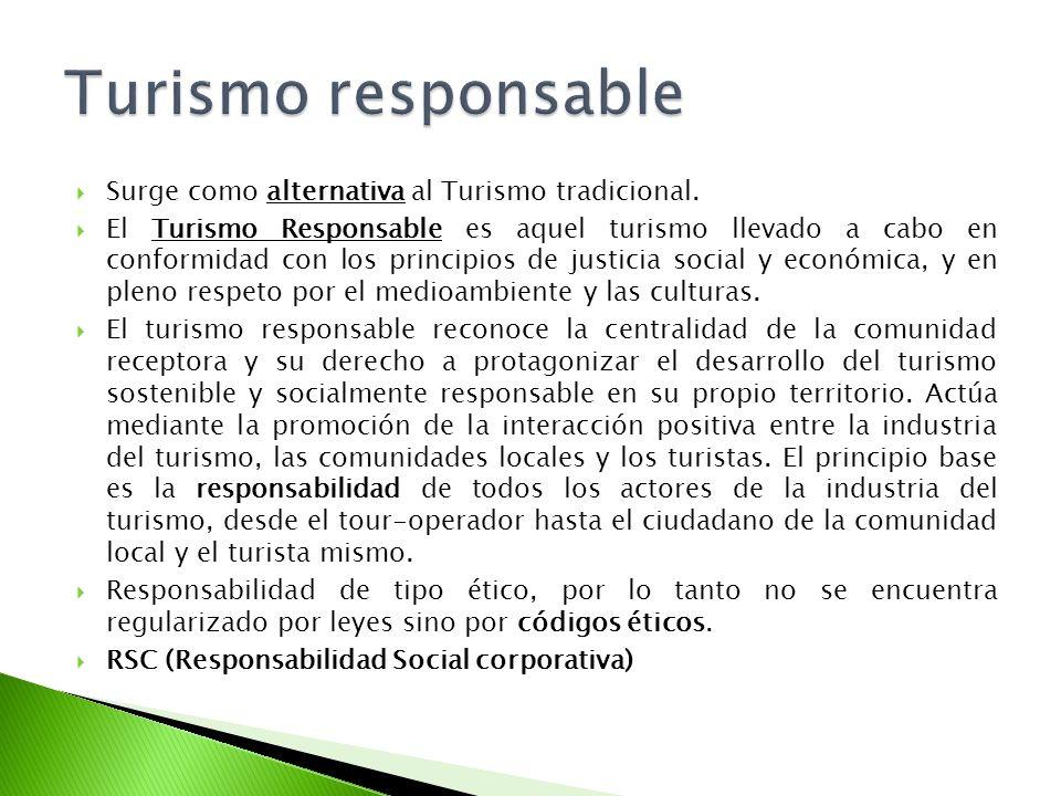 Surge como alternativa al Turismo tradicional. El Turismo Responsable es aquel turismo llevado a cabo en conformidad con los principios de justicia so
