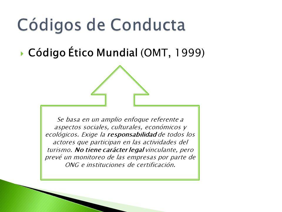 Código Ético Mundial (OMT, 1999) Se basa en un amplio enfoque referente a aspectos sociales, culturales, económicos y ecológicos. Exige la responsabil