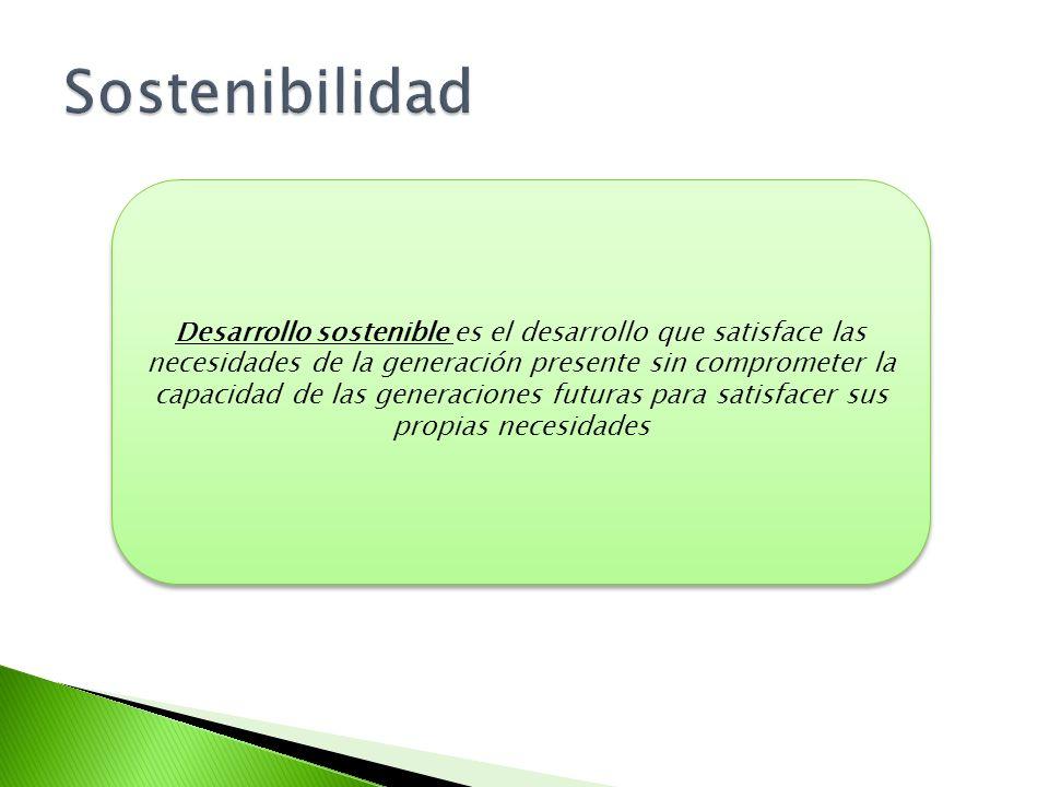 Desarrollo sostenible es el desarrollo que satisface las necesidades de la generación presente sin comprometer la capacidad de las generaciones futura