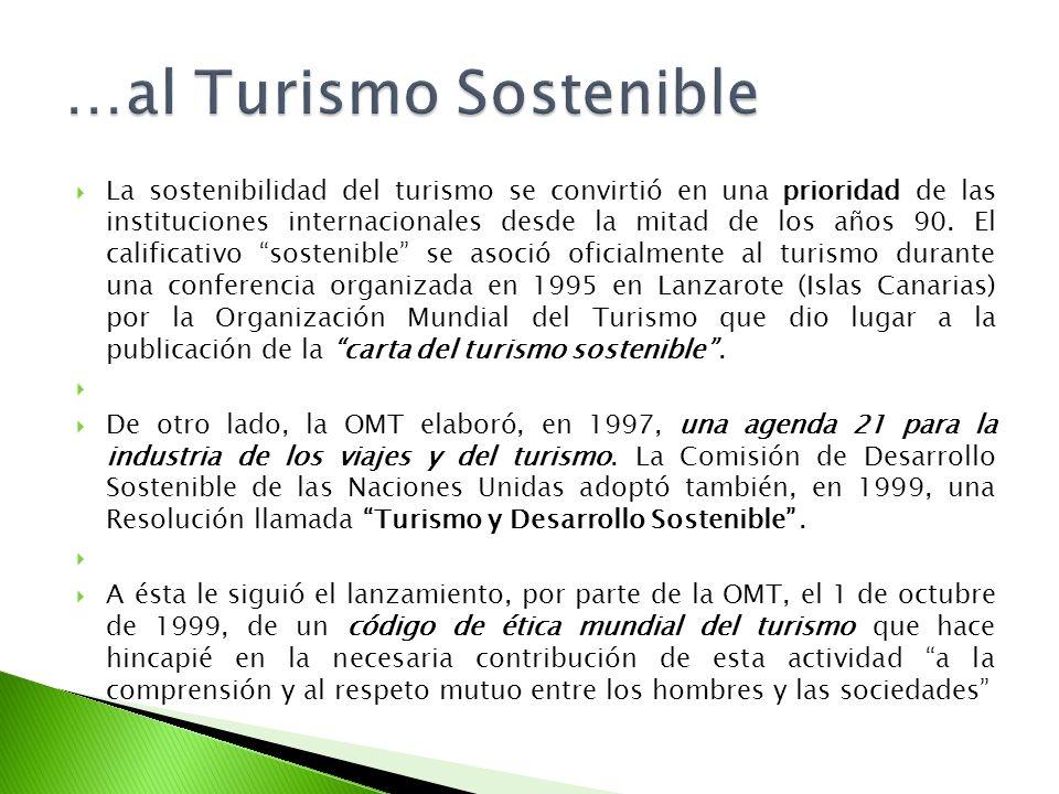 La sostenibilidad del turismo se convirtió en una prioridad de las instituciones internacionales desde la mitad de los años 90. El calificativo sosten