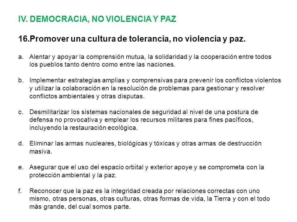IV. DEMOCRACIA, NO VIOLENCIA Y PAZ 16.Promover una cultura de tolerancia, no violencia y paz.