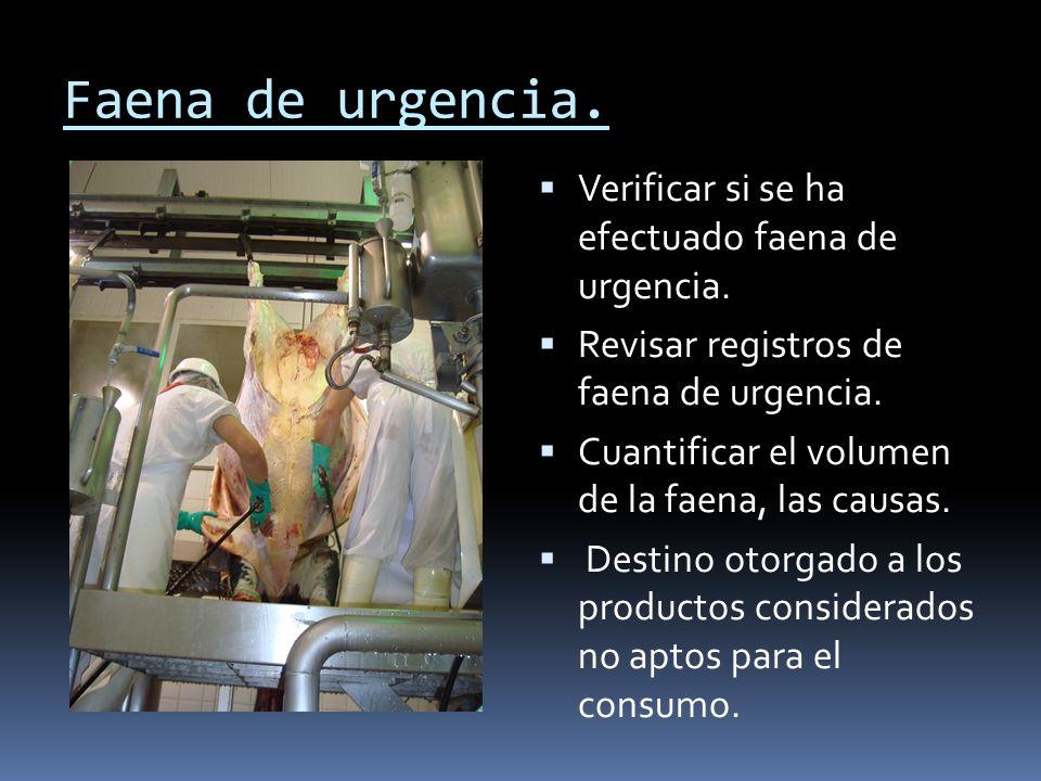Faena de urgencia.Verificar si se ha efectuado faena de urgencia.