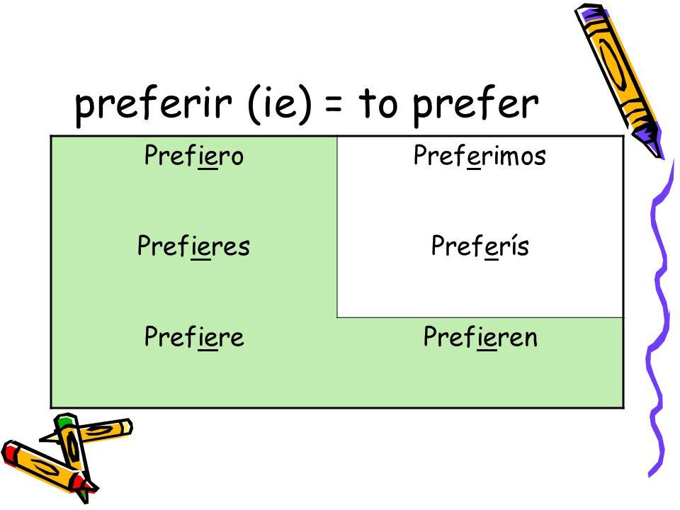 preferir (ie) = to prefer PrefieroPreferimos PrefieresPreferís PrefierePrefieren