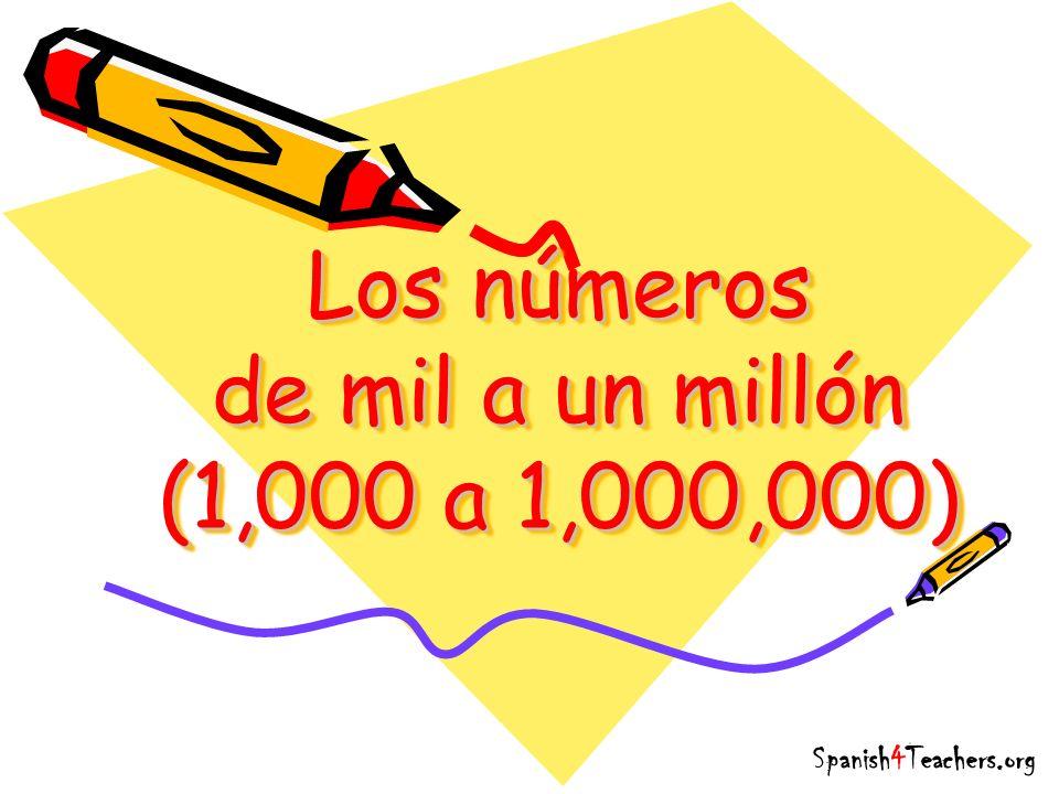 Los números de mil a un millón (1,000 a 1,000,000) Spanish4Teachers.org