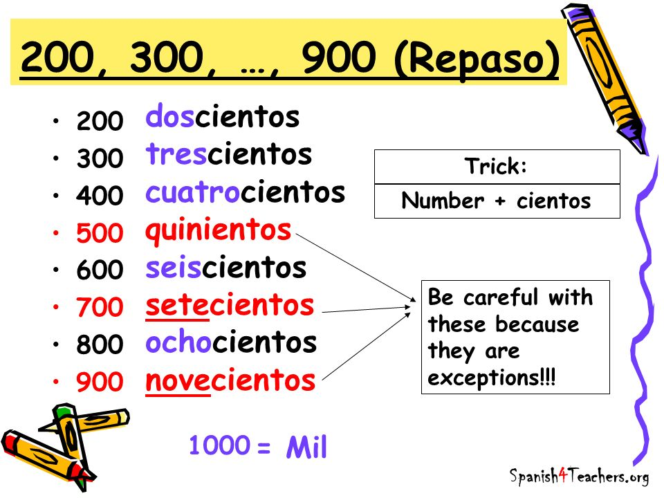 200 300 400 500 600 700 800 900 200, 300, …, 900 (Repaso) Trick: Be careful with these because they are exceptions!!! Number + cientos doscientos tres