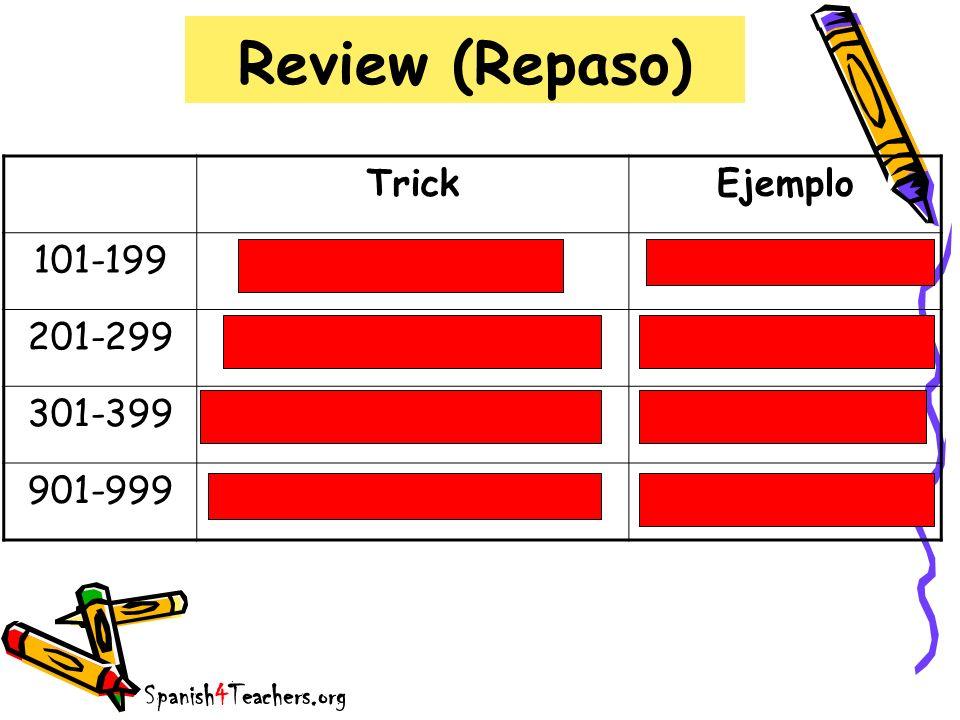 Review (Repaso) TrickEjemplo 101-199ciento + númerocientodos 201-299doscientos + númerodoscientos tres 301-399trescientos + númerotrescientos seis 901