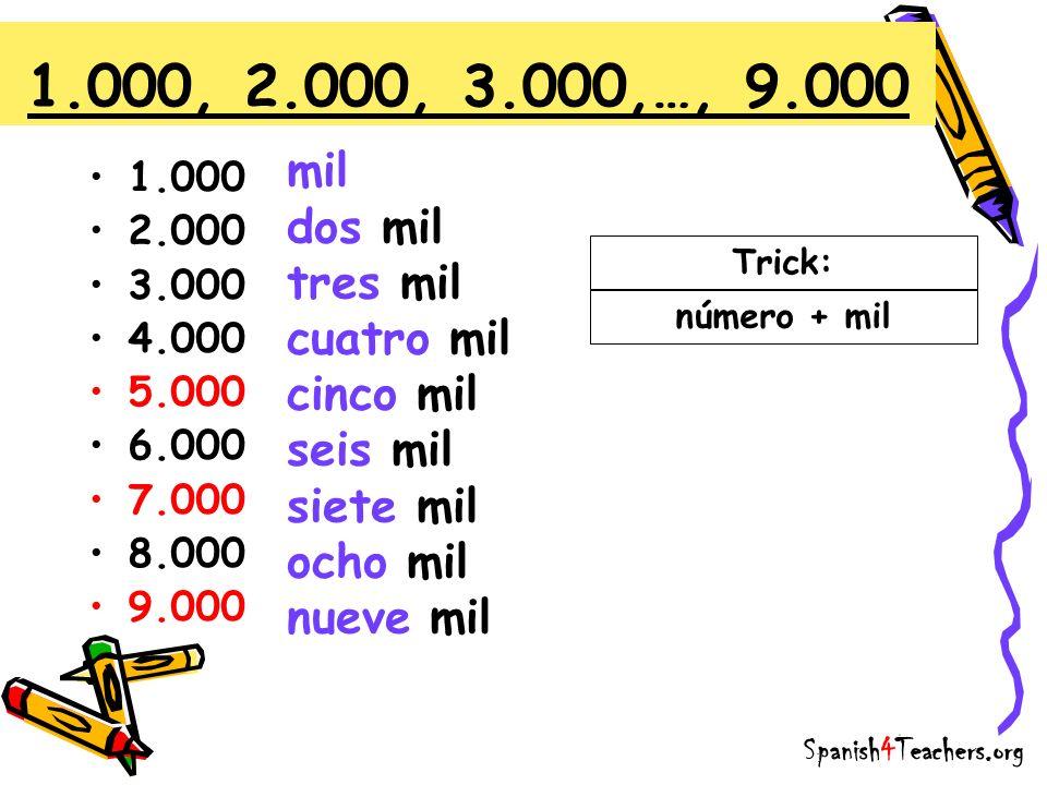 1.000 2.000 3.000 4.000 5.000 6.000 7.000 8.000 9.000 1.000, 2.000, 3.000,…, 9.000 Trick: número + mil mil dos mil tres mil cuatro mil cinco mil seis