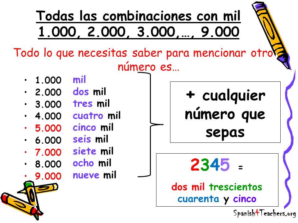 Todo lo que necesitas saber para mencionar otro número es… Spanish4Teachers.org Todas las combinaciones con mil 1.000, 2.000, 3.000,…, 9.000 1.000 2.0
