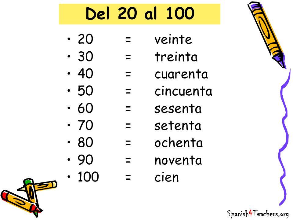 Del 20 al 100 20=veinte 30=treinta 40=cuarenta 50=cincuenta 60=sesenta 70=setenta 80=ochenta 90=noventa 100=cien Spanish4Teachers.org