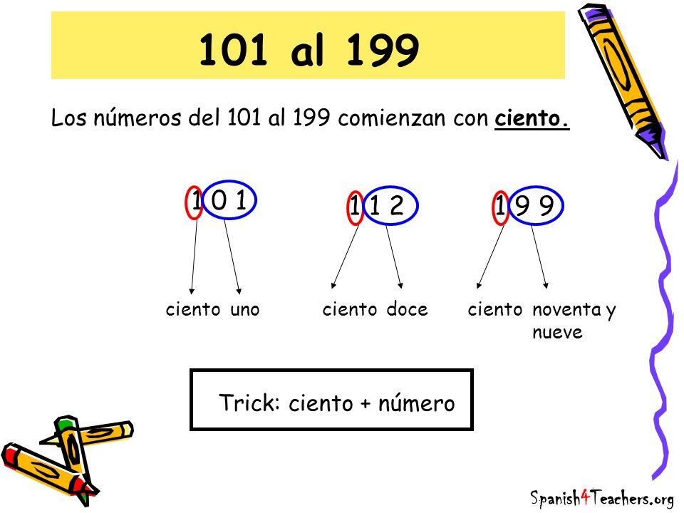 101 al 199 Los números del 101 al 199 comienzan con ciento. 1 0 1 cientouno 1 1 2 cientodoce 1 9 9 cientonoventa y nueve Trick: ciento + número Spanis