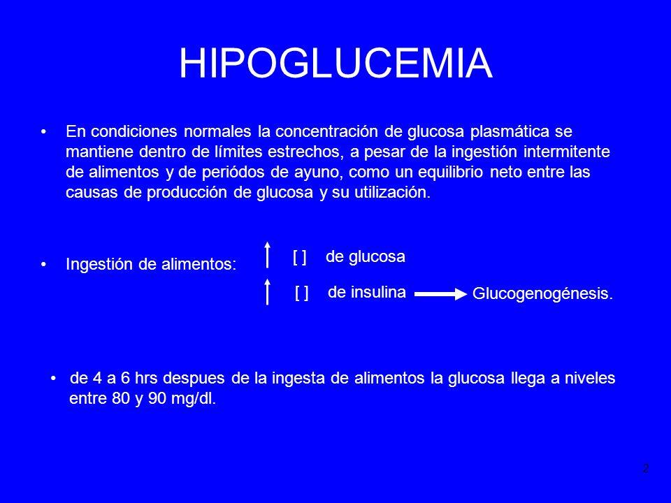 HIPOGLUCEMIA En condiciones normales la concentración de glucosa plasmática se mantiene dentro de límites estrechos, a pesar de la ingestión intermite