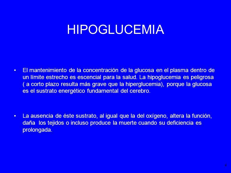 HIPOGLUCEMIA El mantenimiento de la concentración de la glucosa en el plasma dentro de un límite estrecho es escencial para la salud. La hipoglucemia