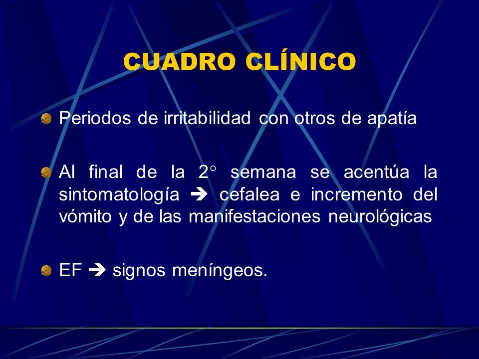 CUADRO CLÍNICO Periodos de irritabilidad con otros de apatía Al final de la 2° semana se acentúa la sintomatología cefalea e incremento del vómito y d