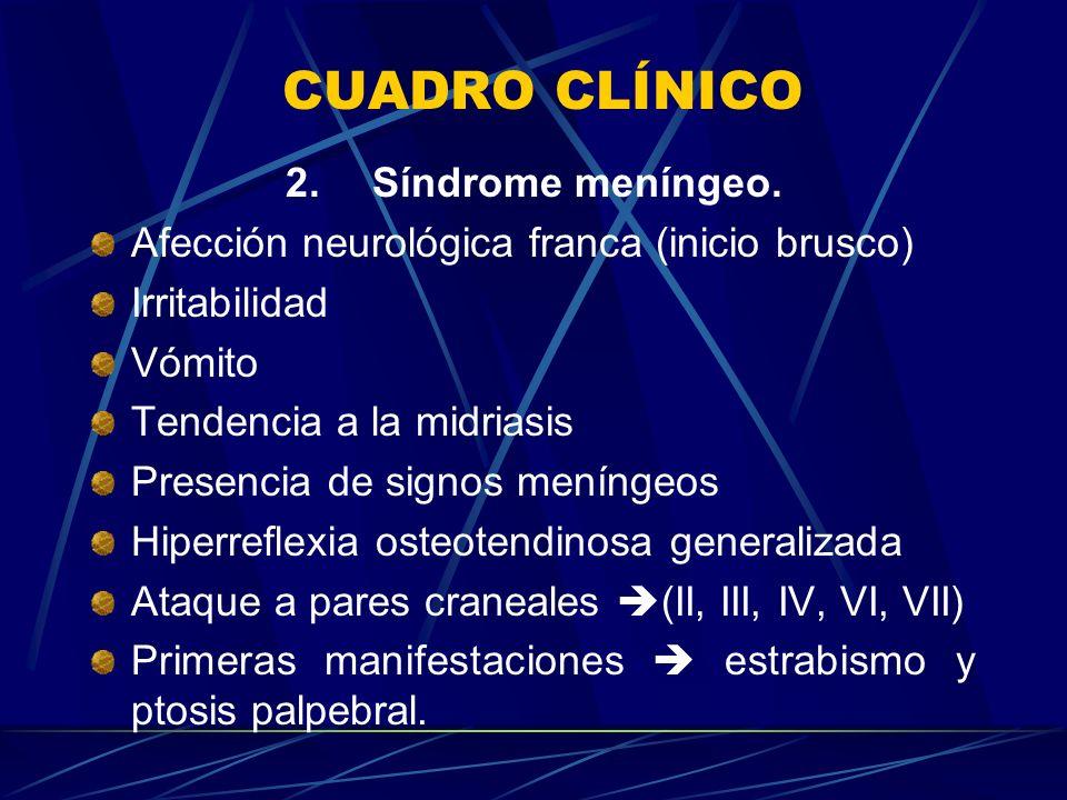CUADRO CLÍNICO 2. Síndrome meníngeo. Afección neurológica franca (inicio brusco) Irritabilidad Vómito Tendencia a la midriasis Presencia de signos men