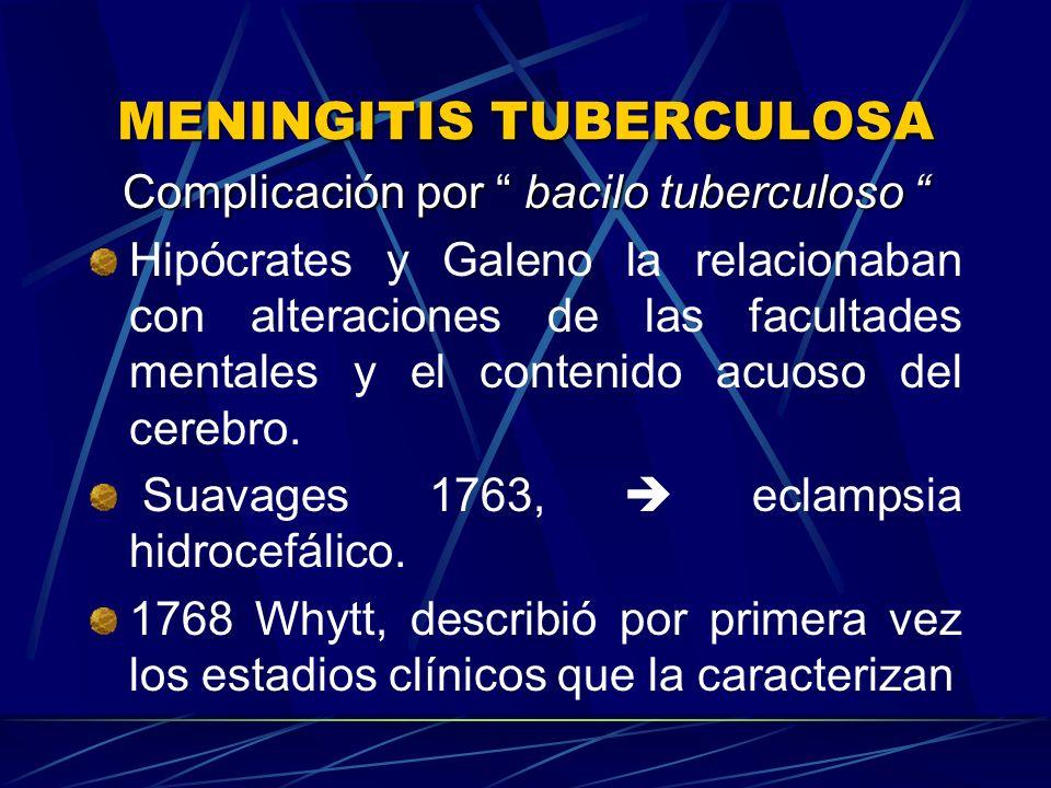 Complicación por bacilo tuberculoso Complicación por bacilo tuberculoso Hipócrates y Galeno la relacionaban con alteraciones de las facultades mentale