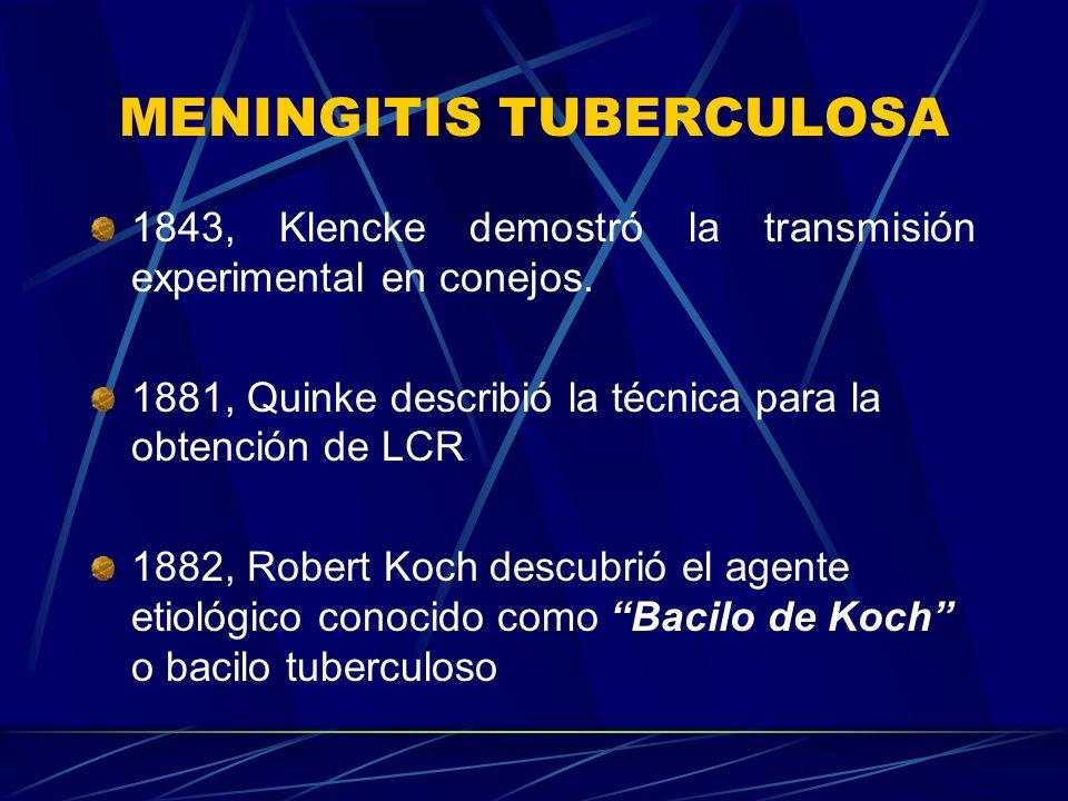 MENINGITIS TUBERCULOSA 1843, Klencke demostró la transmisión experimental en conejos. 1881, Quinke describió la técnica para la obtención de LCR 1882,