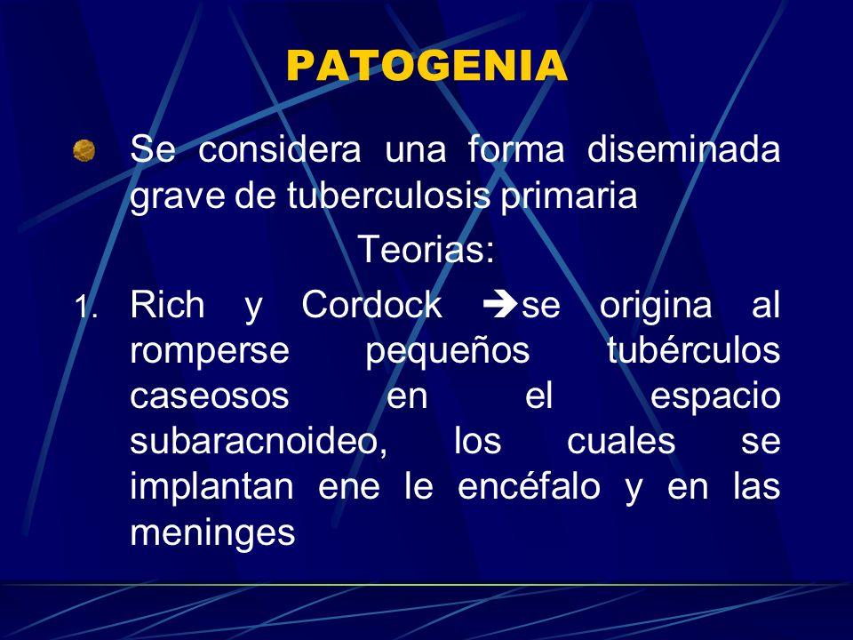 PATOGENIA Se considera una forma diseminada grave de tuberculosis primaria Teorias: 1. Rich y Cordock se origina al romperse pequeños tubérculos caseo