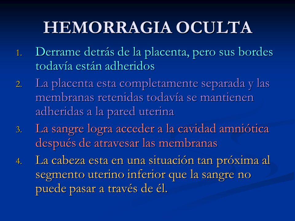 HEMORRAGIA OCULTA 1. Derrame detrás de la placenta, pero sus bordes todavía están adheridos 2. La placenta esta completamente separada y las membranas