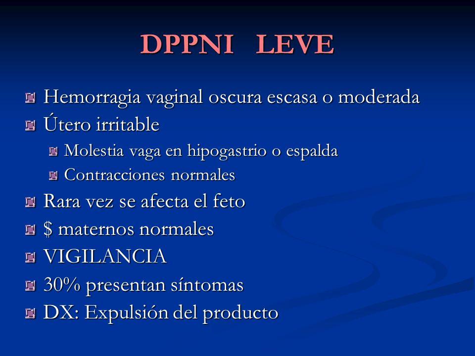 DPPNI LEVE Hemorragia vaginal oscura escasa o moderada Útero irritable Molestia vaga en hipogastrio o espalda Contracciones normales Rara vez se afect
