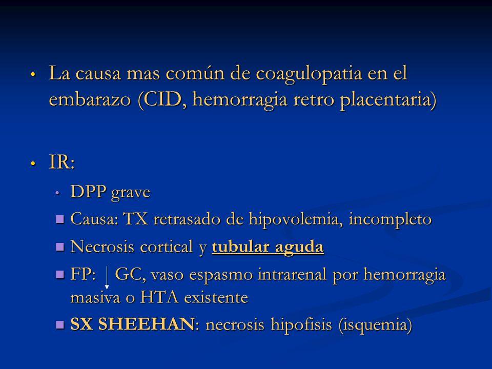 La causa mas común de coagulopatia en el embarazo (CID, hemorragia retro placentaria) La causa mas común de coagulopatia en el embarazo (CID, hemorrag