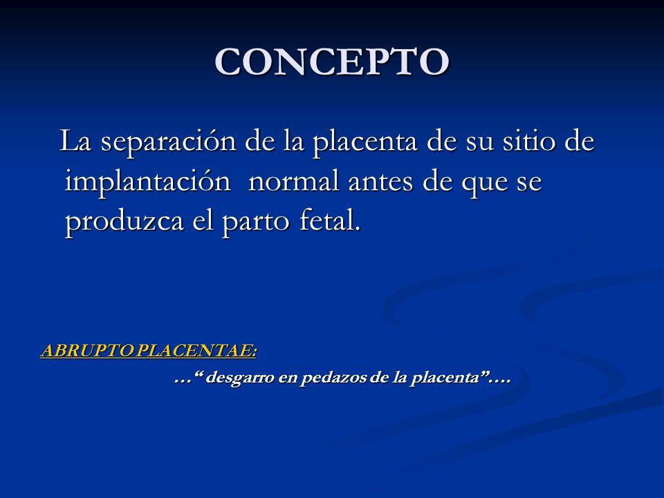 CONCEPTO La separación de la placenta de su sitio de implantación normal antes de que se produzca el parto fetal. La separación de la placenta de su s