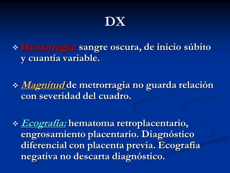 DX Hemorragia: sangre oscura, de inicio súbito y cuantía variable. Hemorragia: sangre oscura, de inicio súbito y cuantía variable. Magnitud de metrorr