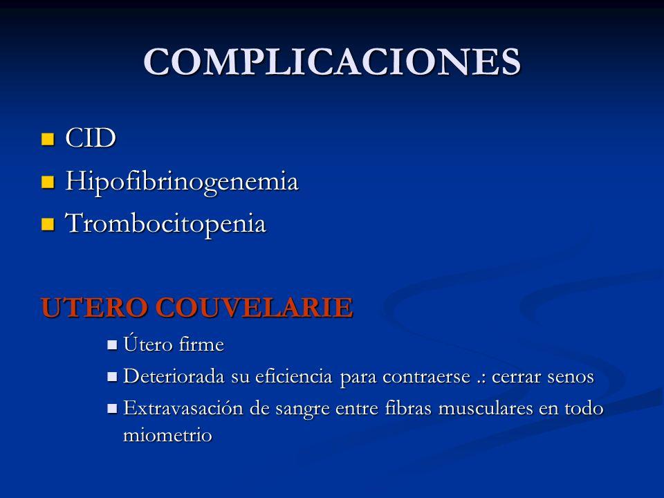 COMPLICACIONES CID CID Hipofibrinogenemia Hipofibrinogenemia Trombocitopenia Trombocitopenia UTERO COUVELARIE Útero firme Útero firme Deteriorada su e