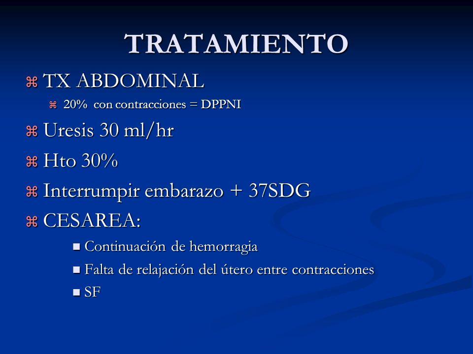 TRATAMIENTO TX ABDOMINAL TX ABDOMINAL 20% con contracciones = DPPNI 20% con contracciones = DPPNI Uresis 30 ml/hr Uresis 30 ml/hr Hto 30% Hto 30% Inte