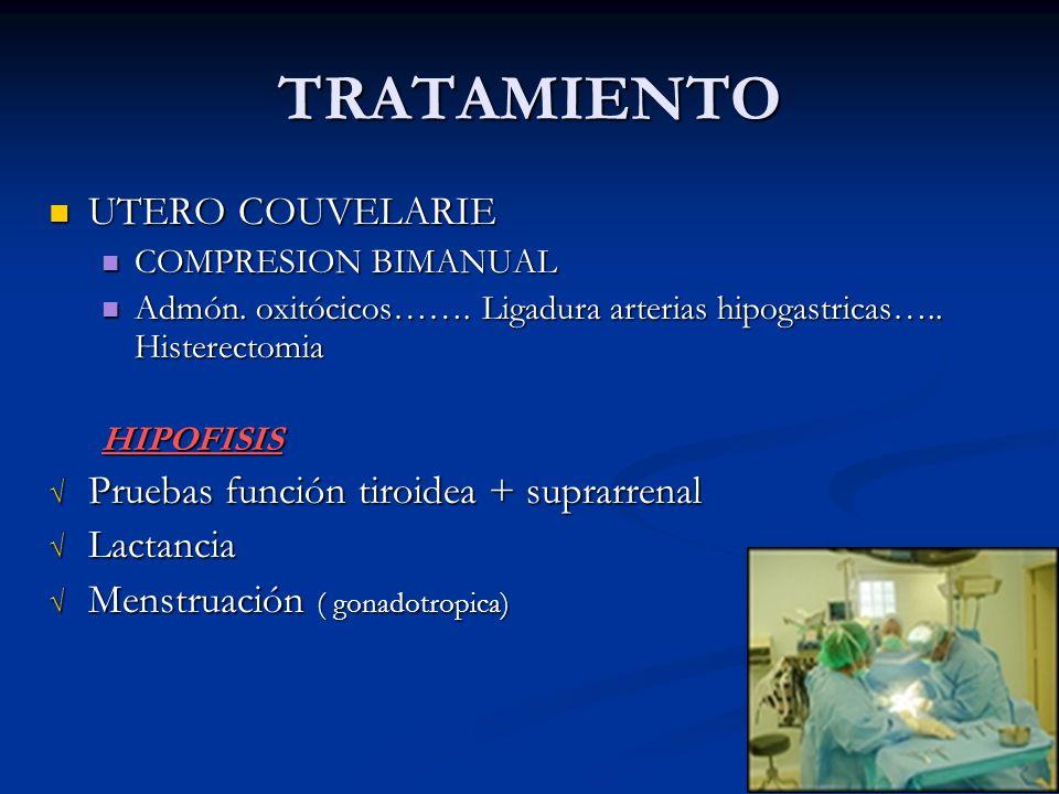 TRATAMIENTO UTERO COUVELARIE UTERO COUVELARIE COMPRESION BIMANUAL COMPRESION BIMANUAL Admón. oxitócicos……. Ligadura arterias hipogastricas….. Histerec