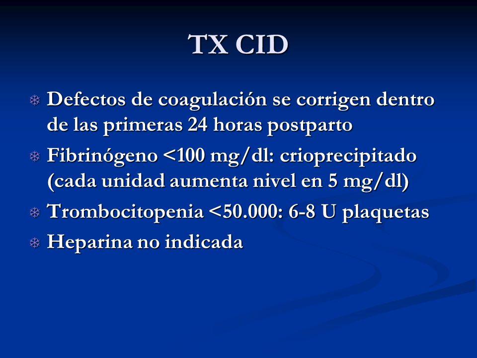 TX CID Defectos de coagulación se corrigen dentro de las primeras 24 horas postparto Defectos de coagulación se corrigen dentro de las primeras 24 hor